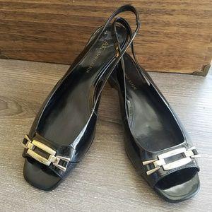 AK Anne Klein Black Wedge Sandal
